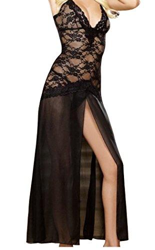 HO-Ersoka Bata vestido largo de noche de tul y encaje mezclado inculyendo el string negro