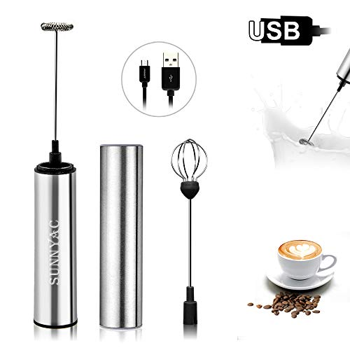 Sunnyac USB Rechargeable Milk Frother Handheld, Portable Electric Coffee Foam Maker Blender with Egg Whisk, Stainless…