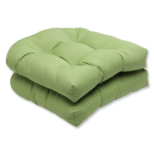 Pillow Perfect Indoor/Outdoor Wicker Seat Cushion (Set of 2) with Sunbrella Canvas Ginkgo Fabric, 19 in. L X 19 in. W X 5 in. D ()