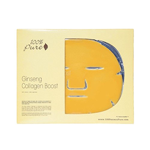 100% Pure: Ginseng Collagen Boost (Box-5Pcs), All Natural, Organic Mask Formulated from Ginseng for Firmer, More Elastic Skin