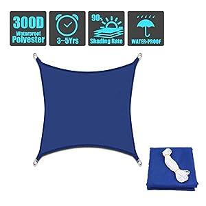 HEWYHAT Tenda a Vela Impermeabile Quadrato, Parasole e Protezione Raggi UV, Resistente e Traspirante per Esterni, Cortile, Giardino, Blu,2.5×2.5m/8' x8' 8 spesavip