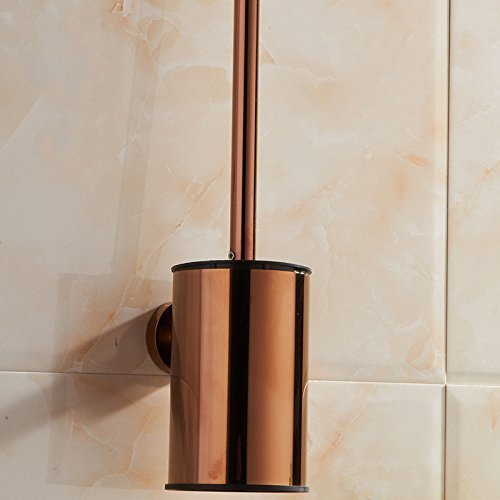 FACAIG Copper, stainless steel Toilet brush set bathroom hotel creative personality trailer metal, Pink Gold