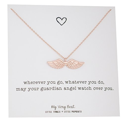 My Very Best Dainty Angel Wing Necklace (rose gold plated brass) -