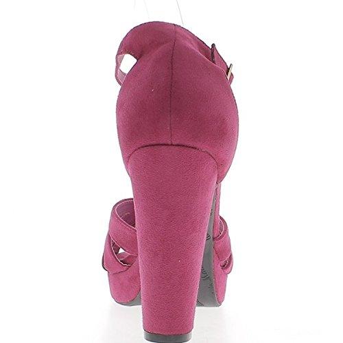 Sandali grande donna taglia fucsie aspetto camoscio 12cm piattaforma tacco