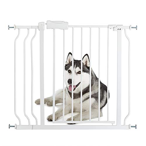 Bonnlo 38 W Safety Baby Gate Dog Gate Extra Wide Child Gate with 4 Pressured Adjustment Bolts, Extention Kit Auto Close Door for Stairs, Doorways and Hallways, 31 H