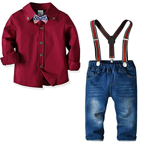 MINIKATA Baby Boys Short Sleeve Gentleman Outfits Suits Infant Overalls Clothing Set Blue Shirt+Bib Pants+Tie (0-3 Years) (Red / 100cm)