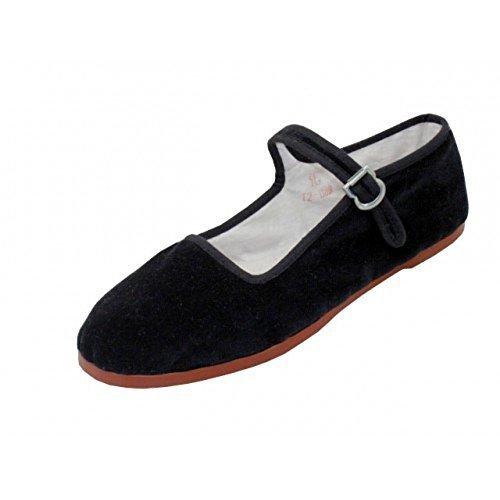(Easy USA Women's Cotton Mary Jane Shoes Ballerina Ballet Flats Shoes (11, Black Velvet) )