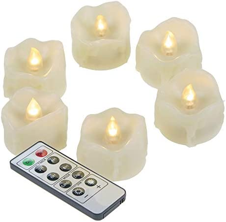 Flameless LED Drips Tea Lights with Remote Battery Operated Flickering Electric Fake Tealight Candle Set for Halloween Christmas Home Party Wedding Decorations, Batteries Included, 6 Pack
