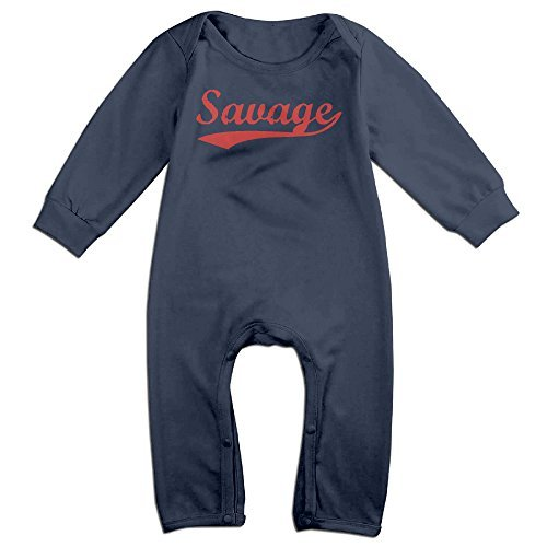 Baby Boy Girl Bodysuit Outfits Vintage Savage Logo Printed Long Sleeve Playsuit Outfits