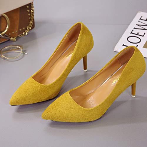 tacón de de Amarilla Mujer Alto Punta Yukun Yellow Zapatos con qIHwpp