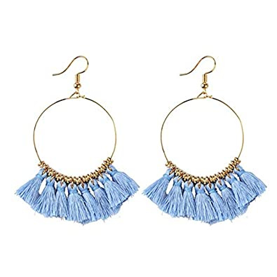Sister and Friend Idea Gift for Mom AMELIA Bohemia Fan Shape Tassel Earrings Hoop Dangle Ear Drop,Statement Handmade Dangle Earrings