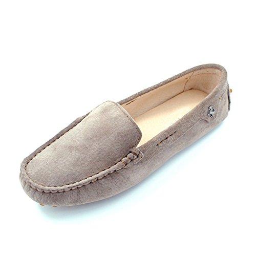 Minishion Tyb9601 Mocasines De Punta Redonda Para Mujer Zapatos De Barco Ballet Flats Mocasín Gris Caqui
