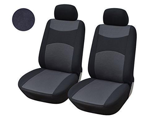 116001 Black-fabric 2 Front Car Seat Covers Compatible To Subaru Impreza WRX Legacy Forester 2018 (Subaru Legacy Car Seat Cover)