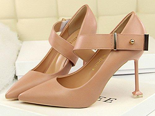 de Chaussures Cheville Mode Rose Escarpins Travail Bride Femme Aisun pXwq7BOv7