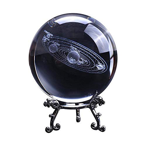 (3D Solar System Crystal Ball with Stand Clear Planet Educational Ball Cosmic Model Engraved Glass Ball Sphere Office Decor)