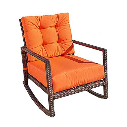 BonusAll Outdoor Furniture Patio Rocking Chair All-Weather Wicker Seat Cushion Rocking Armchair Chair Furniture with Cushion,Orange