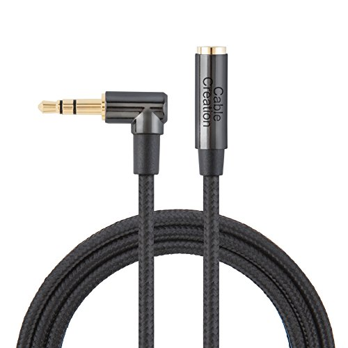 3.5MM Extension,CableCreation 3FT Right Angle Male to Female Audio Stereo Cable,Jack HiFi Cable with Silver-Plating Copper Compatible iPhones,iPad,Sony Beats,PS4 Headset,24K Gold Plated, Black