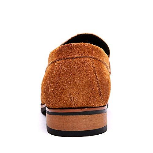 Enllerviid Slip On Gamuza Mocasines Con Cordones De Los Hombres Classic Point Toe Dress Oxfords Zapatos 883 Brown