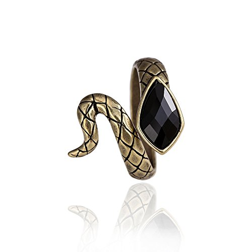SENFAI Antique Bronze Finger Ring Snake Shaped Rings Black Gemstone