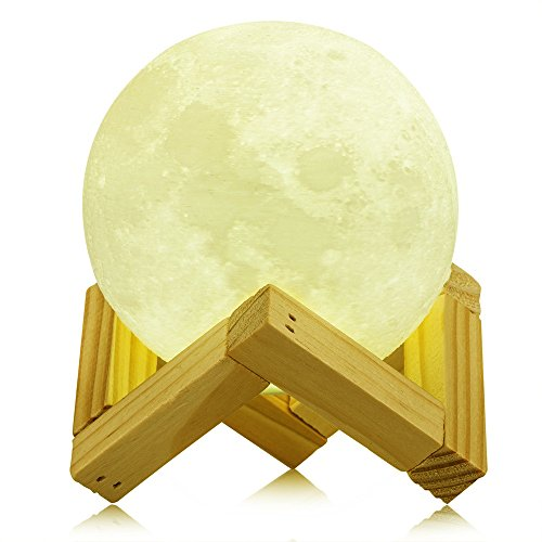 Addprime Night Light for Kids, Moon Lamp Warm and Cool White Lighting Dimmable Touch Control Brightness 3000K/6000K Rechargeable, Home Decorative Light for Bedroom Bathroom