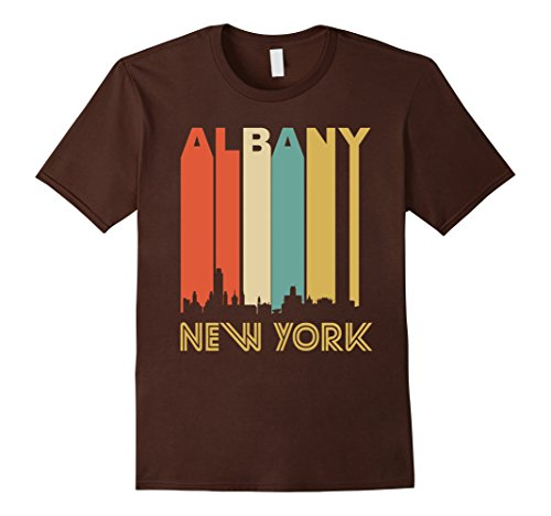 Men's Retro Albany New York Cityscape Downtown Skyline T-Shirt 2XL Brown - Albany New York