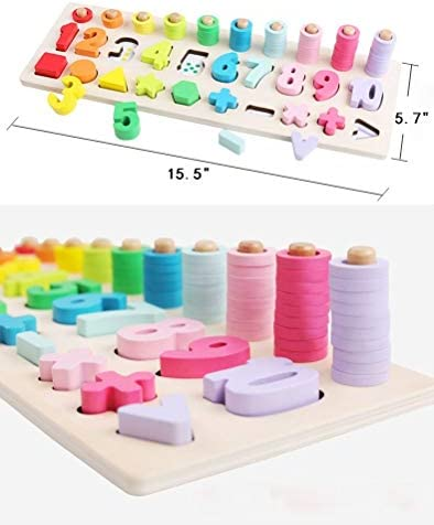 Elvozvets Counting Shape Stacker Stack and Sort Board Wooden Number Blocks Puzzles Educational Toy Shape Sorter for 3 Years Old Kids Toddlers Early Math Learning Toys