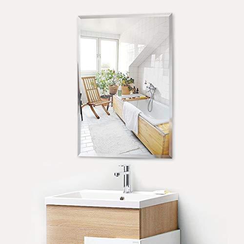 KOHROS Rectangle Beveled Polished Frameless Wall Mirror for Bathroom, Vanity, Bedroom (24