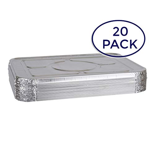 Aluminum Foil Lids for Aluminum Steam Table Pans, Fits Half-Size Pans (1 Bags of 20) ()