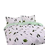 BuLuTu Cactus Print Girls Duvet Cover Twin Cotton White Tropical, Teen Twin Bedding Collections for Boys Zipper Closure,Reversible Lightweight Comforter Cover for Kids,2018, NO Comforter