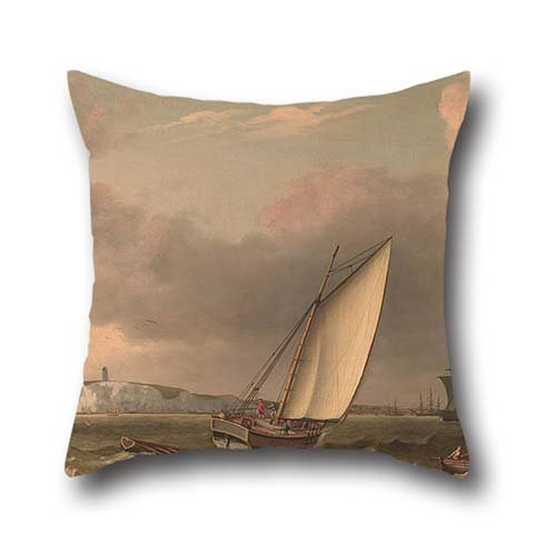 Oil Painting Thomas Luny - A Packet Boat Under Sail In A Breeze Off The South Foreland Pillow Covers ,best For Home Office,monther,home,father,teens,outdoor 18 X 18 Inches / 45 By 45 Cm(twin Sides)