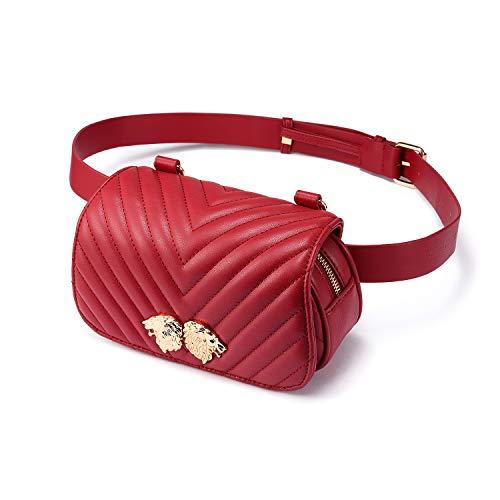 LOVEVOOK Fanny Pack Designer Compact Travel Sport Belt Bag for Women Inset Lions Red