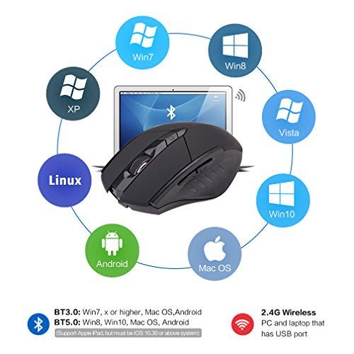 INPHIC - Ratón inalámbrico Bluetooth recargable silencioso (modo de BT5.0/3.0 + 2.4G), ratón portátil ergonómico 1600DPI para ordenador portátil, Android, Windows Mac OS, color negro