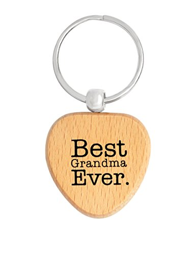 (QIHOO Wood Heart Keychain Best Grandma Ever Mothers Day Gifts for Grandma Key Tag Grandma Gifts)