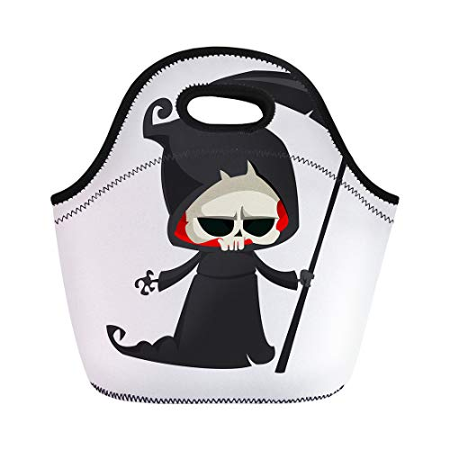 Grim Reaper Mascot Costume - Semtomn Neoprene Lunch Tote Bag Black Cute Cartoon Grim Reaper Scythe White Emblem Party Reusable Cooler Bags Insulated Thermal Picnic Handbag for Travel,School,Outdoors,Work