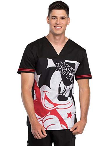Disney TF707 Men's Men's V-Neck Top,Mickey Star,Large