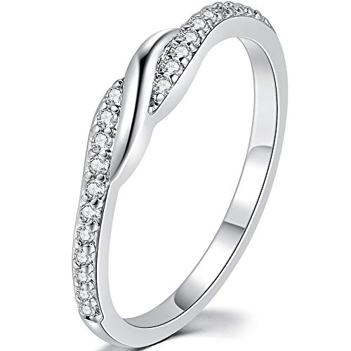 - iSilver Platinum Plated Eternity Wedding Band Stackable Anniversary Promise Statement Ring (03, 9)