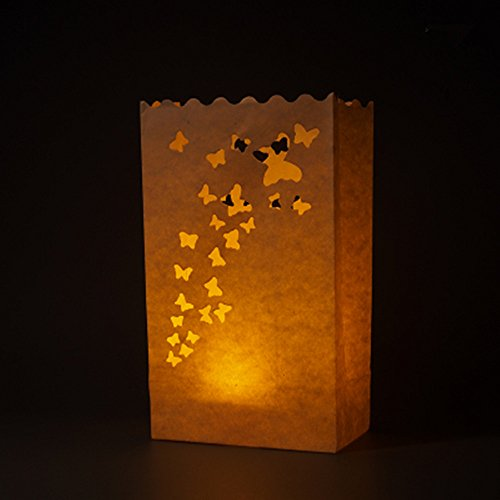 TECH-P Creative Life 30 x Butterfly Paper Luminary Bag Tea Light Votive Candle Holder Bag Paper Lantern Beach Wedding Decoraiton