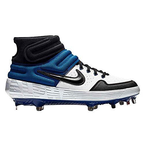 Nike New Mens Alpha Huarache Elite 2 Mid Metal Baseball Cleats White/Blue 8.5M