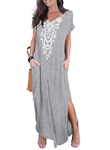 CANIKAT Womens V Neck Crochet Embroidered Front Long Dress Casual Loose Short Sleeve Solid Split Maxi Dresses with Pockets Grey 2XL