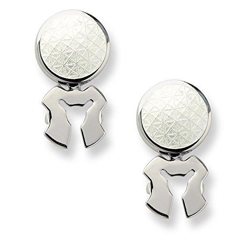 Nicole Barr Sterling Silver White Enamel Button Covers, (Sterling Silver Button Covers)