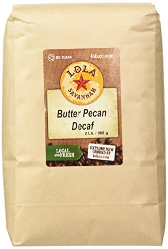 Lola Savannah Butter Pecan Whole Bean Coffee - Arabica Beans Flavored with Butter and Pecans | Decaf | 2lb Bag