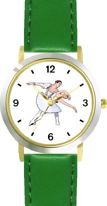 Ballerina and Ballet Dancer Couple No.1 - WATCHBUDDY DELUXE TWO-TONE THEME WATCH - Arabic Numbers - Green Leather Strap-Women's Size-Small by WatchBuddy
