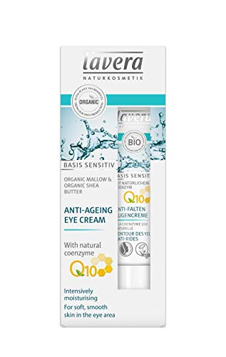 lavera Anti-Aging Eye Cream with innovative natural composition of coenzyme Q10, Organic Jojoba Oil & Aloe Vera to actively fight wrinkles, fine lines & signs of skin aging for under eyes - 0.5 Oz
