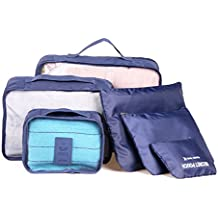 6 Sets Travel Organizers Travel Packing Cubes Nylon Laundry Pouches 3 Cubes 3 Pouches Luggage Packing Cubes Set LZG