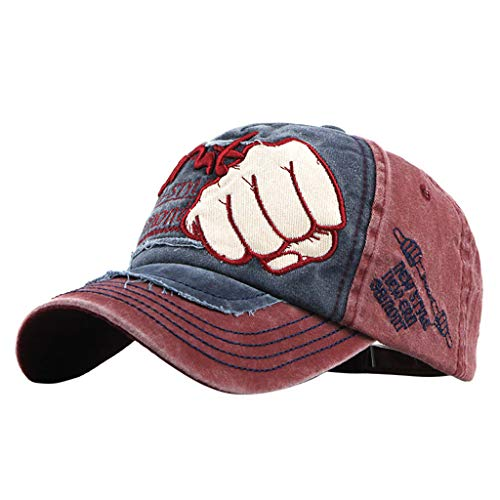 Yucode Unisex Sports Baseball Caps Hats Fist Metal Skull Rivets Decor Red
