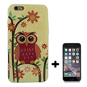 Zaki Flower and Owl Pattern Soft TPU with Screen Protector Case Cover for iPhone 6