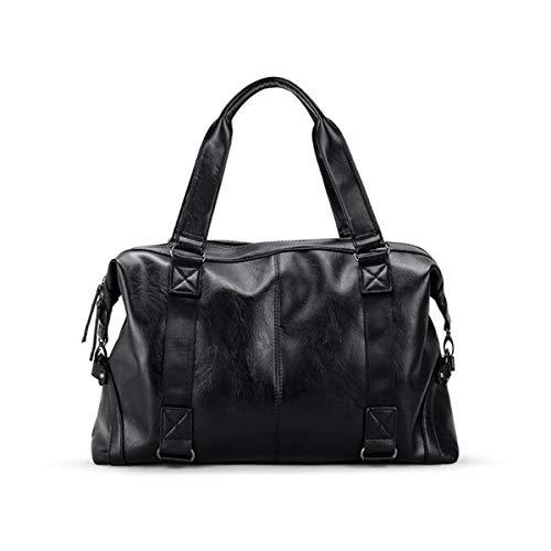 ZHICHUANG Duffel Bag, Waterproof Gym Bag, Large-Capacity Travel Bag, Short-Distance Travel Shoulder Bag, Size: 47 15 31cm Travel Duffel Bag for Men and Women (Color : Black) ()