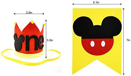 CHuangQi 1st Birthday High Chair Banner & Party Crown/Hat, Felt Fabric, Mickey Theme First Birthday Party Sign