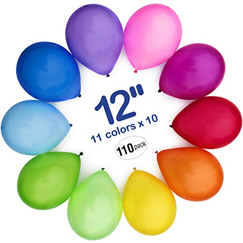 (WinkyBoom Balloons Assorted Color 12 inches 100 Count Premium Quality Latex for Birthday Party)