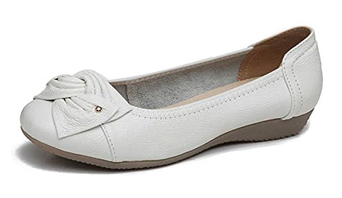 Oak Plain Wedge (Maybest Women's Casual Bow Tie Flats Soft Sole Slip On Comfort Driving Moccasin Pumps Loafers Ballet Court Dancing Shoes White 5 B (M) US)